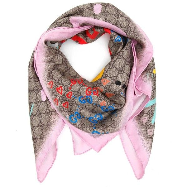 Pink and Beige Silk UFO GG Scarf Gucci ApOZ7