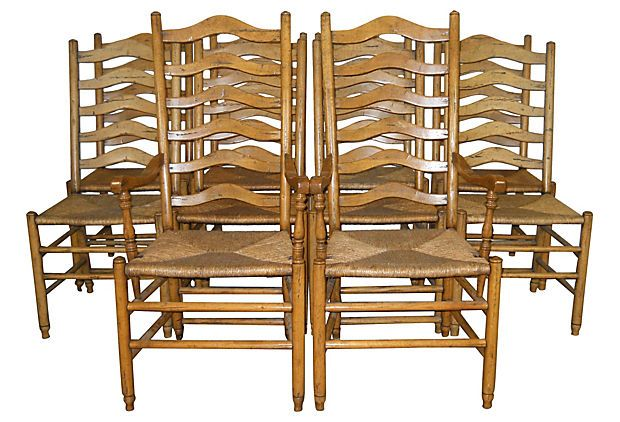 Set Of Ten Ladder Back Chairs With Rush Seats Including Two Armchairs And Eight Side X
