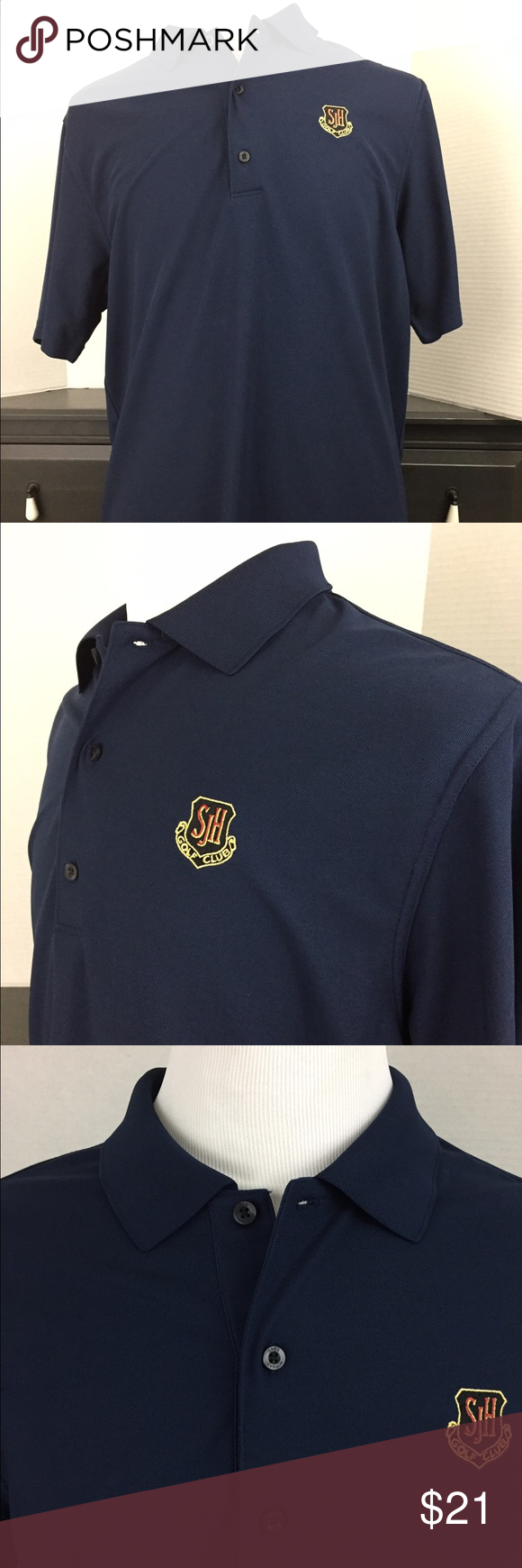 Greg Norman Golf 🏌Polo Play Dry - Blue - Large This gorgeous deep blue polo is a standout that goes with everything, and the no-wrinkle Play Dry feature makes this casual shirt truly comfortable.  No flaws. Size L. Built to last.  Brand: Greg Norman Size: L  Condition: Excellent  Category: Casual Shirts  Color: Deep Blue Size Type: Regular Size (Men's): Large Sleeve Length: Short Sleeve Style: Polo, Rugby Fit: Classic Fit Material: 100% Polyester   Measurements: 24.5 inches Total Length 32…