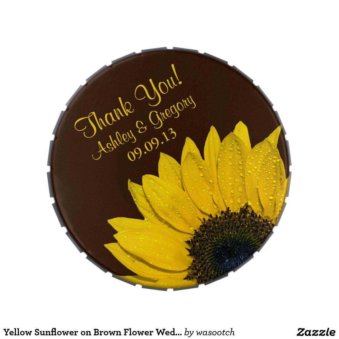 Yellow Sunflower on Brown Flower Wedding Candy Tin