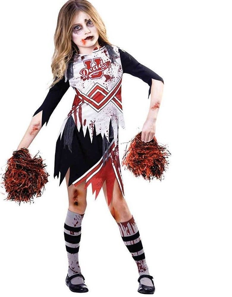 Ladies Undead Cheerleader Costume Adults Halloween Zombie Fancy Dress Outfit