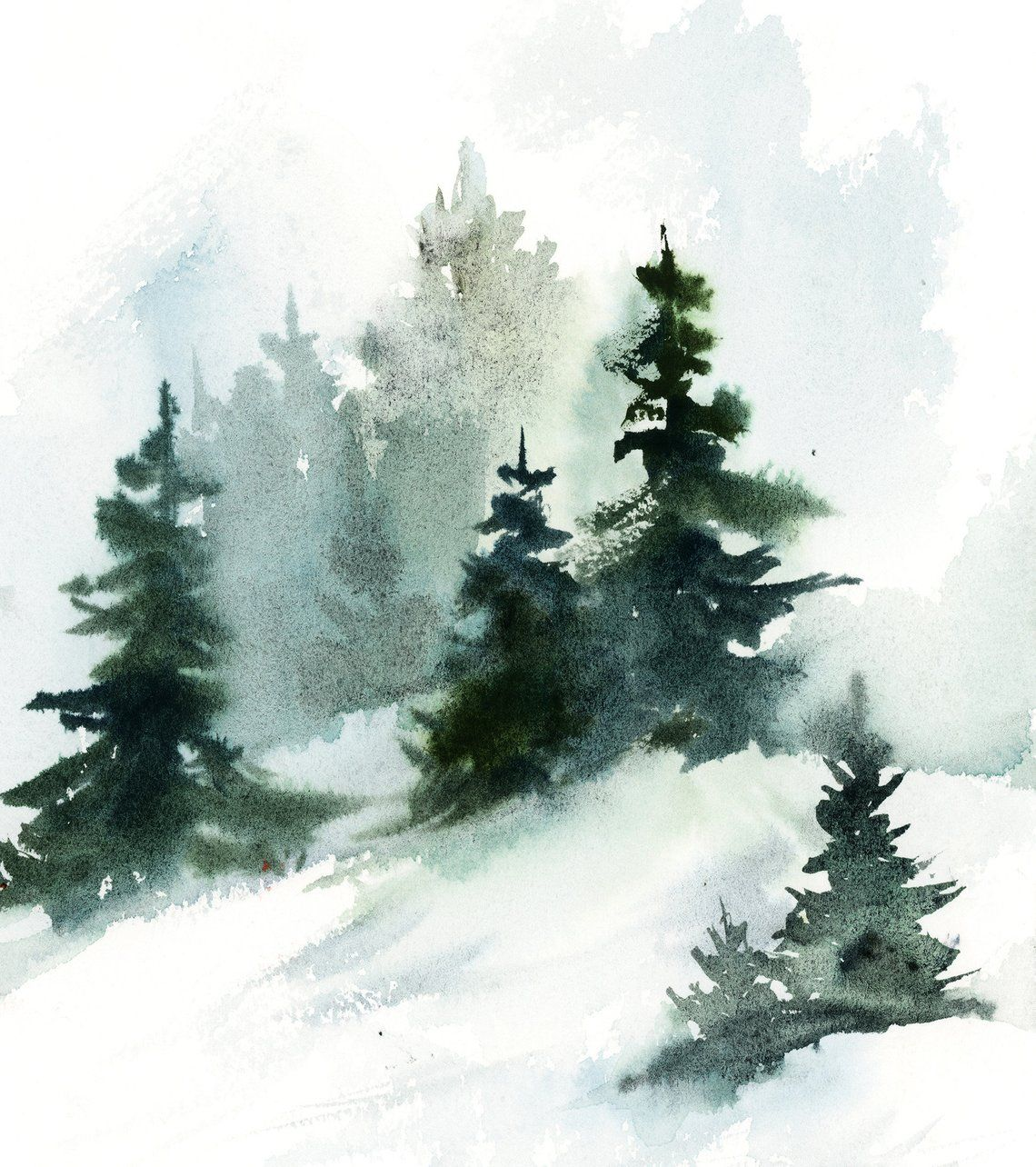 Pine Trees Landscape Painting Winter Landscape Original Watercolor Painting Snowy Nature Painting By Canotstop Nature Paintings Watercolor Trees Watercolor Landscape