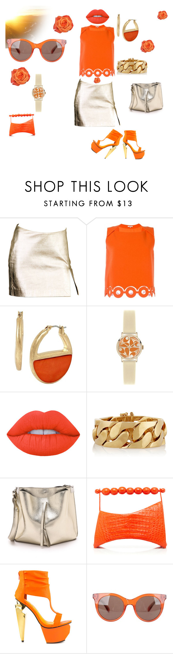 """""""Sun kissed Orange"""" by dlc18424 ❤ liked on Polyvore featuring Versace, Carven, Kenneth Cole, Orla Kiely, Emilio Pucci, Maison Margiela, Nancy Gonzalez, Privileged and Marc by Marc Jacobs"""