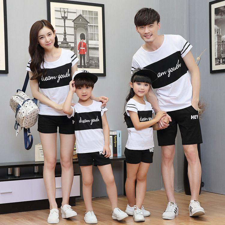 3169e306 Family Matching Outfits Summer Father and Son T Shirt Clothes 2017 Mother  Daughter Black and White Casual Sports Clothes Set