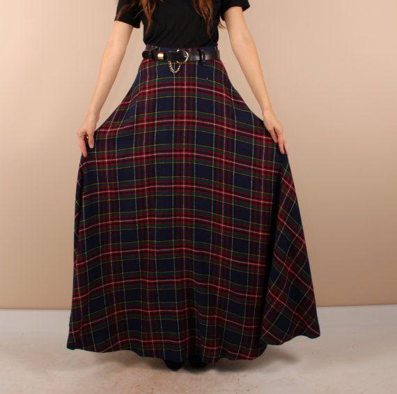 e7487fed3c Description: Vintage 70s plaid maxi skirt. Blues, reds and greens. Super  long