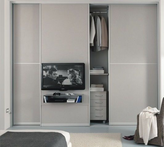 Contemporary Sliding Door Wardrobe With TV Screen Integrated 305 Zemma Srl