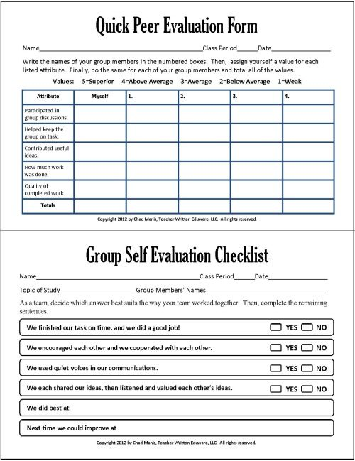 quick peer evaluation form Group and peer assessment in group work -Cooperative Learning: 7 ...