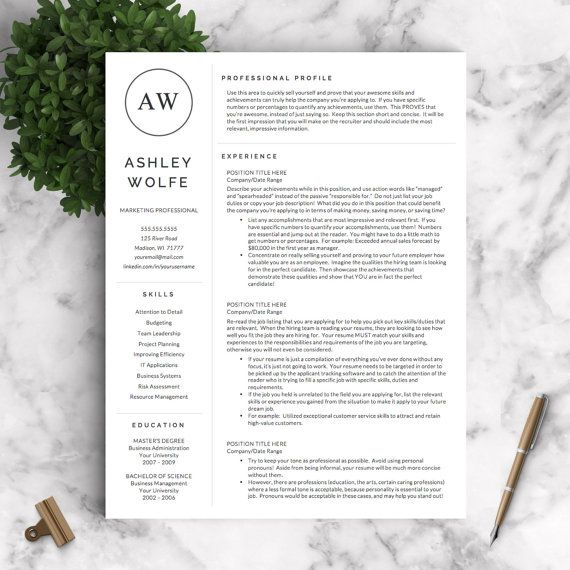 Modern Resume Template Resume Template for Word and Pages 1, 2 - pages resume template