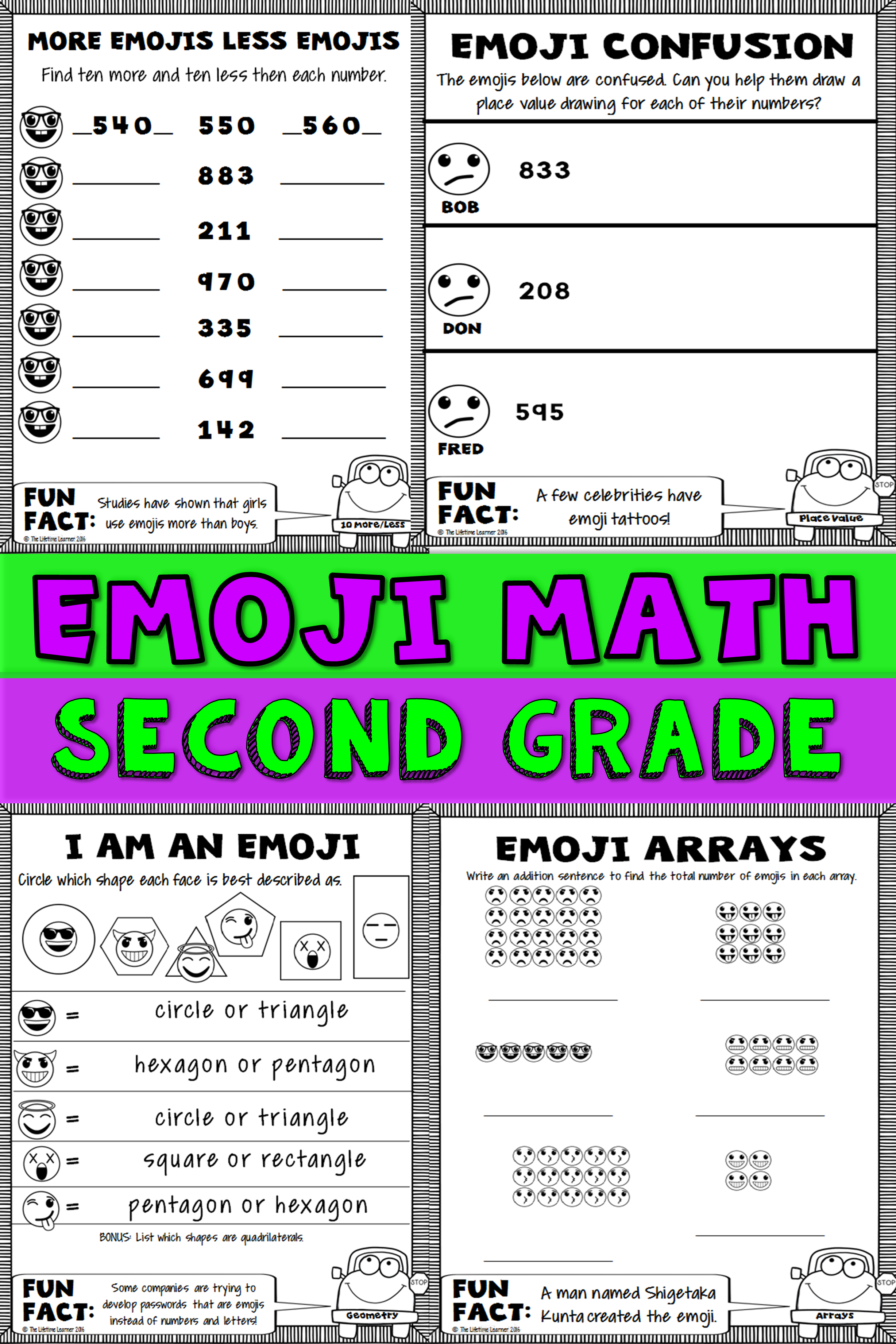 2nd Grade Emoji Math | The Lifetime Learner TpT Products