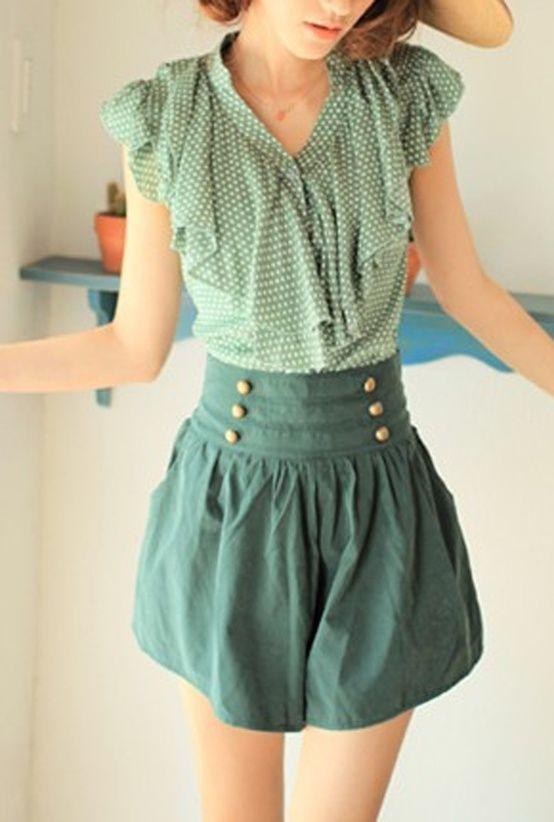 Teal high waisted skirt