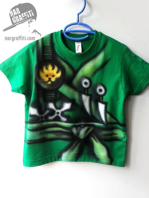 03593330335d NINJAGO inspired T-Shirt   LEGO inspired T-Shirt   Ninja Costume   Warrior    Hand Painted, Custom named, best for kids, boys, girls   green - pinned  by ...