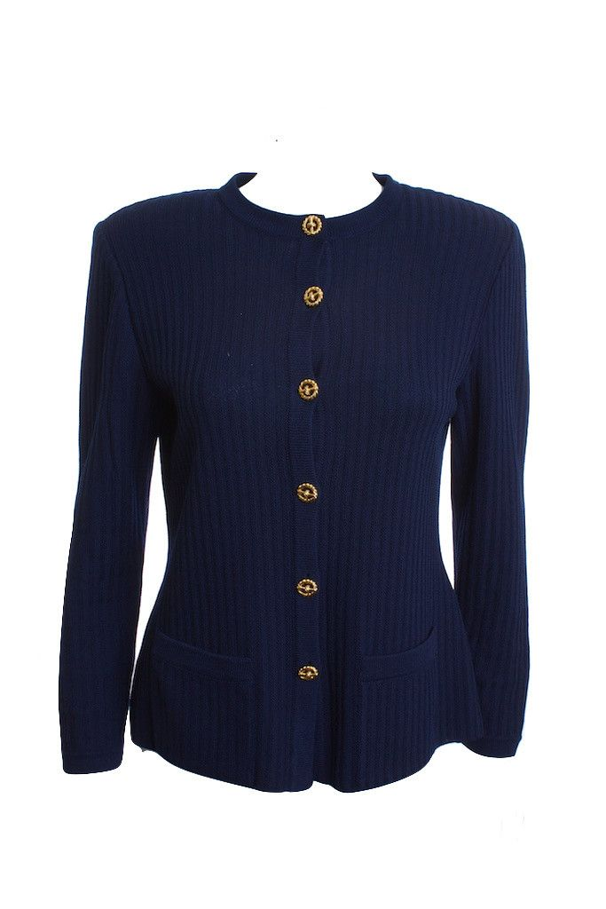 ST.JOHN ROUND NECK LONG SLEEVES GOLD BUTTON NAVY BLUE CARDIGAN ...