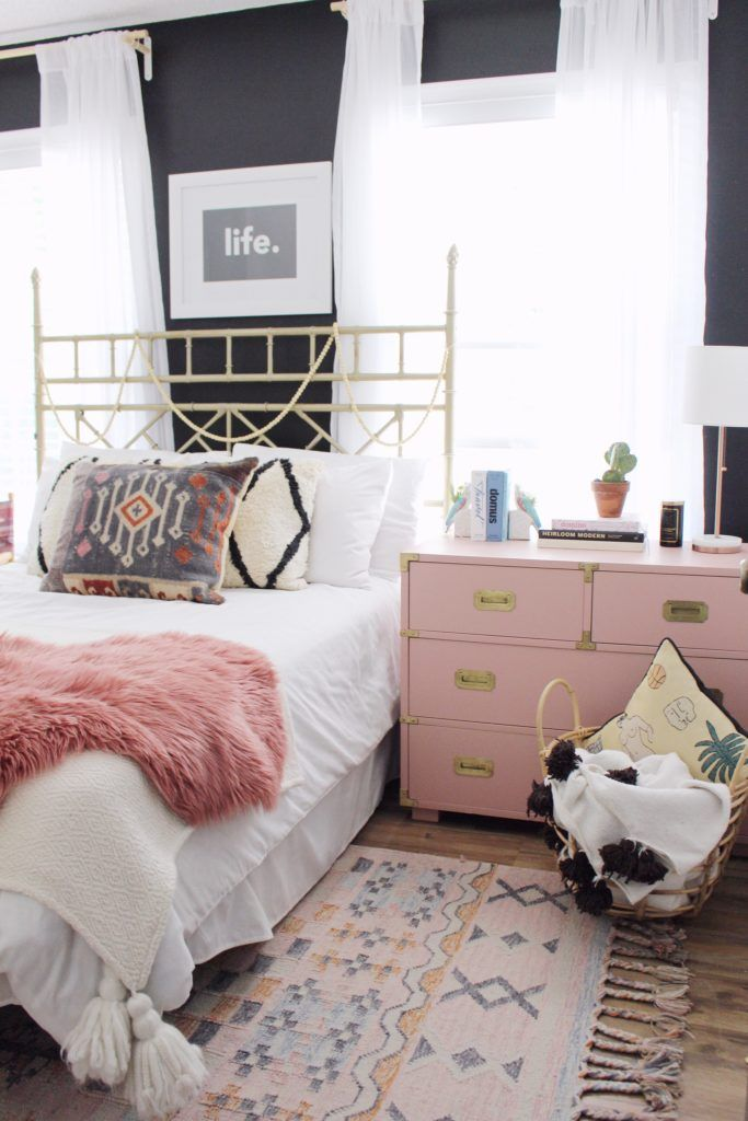 Pink boho bedroom Home of the Month