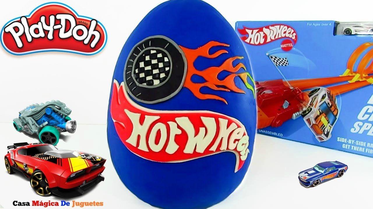 Huevo Sorpresa Gigante de Hot Wheels  2 De Plastilina Play Doh en Españo...