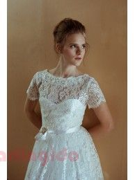 A Line Scoop Knee-Length Vintage Lace Bridal Gown Short Sleeves