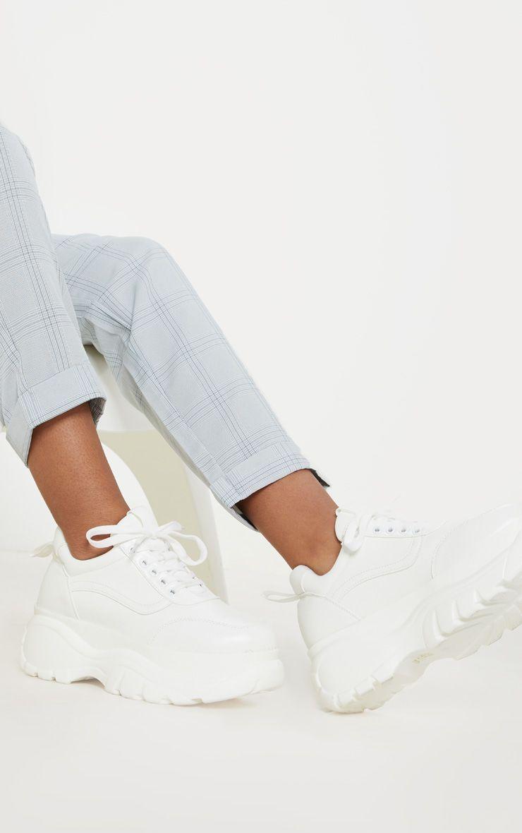 White Chunky Platform Sneakers | White