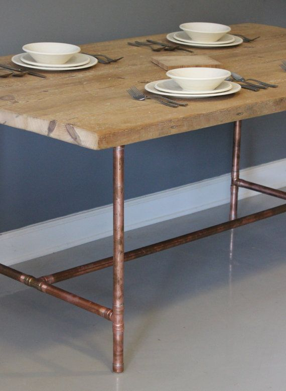 Reclaimed urban wood dining table or desk with real copper reclaimed urban wood dining table or desk with real copper industrial pipe legs free shipping watchthetrailerfo