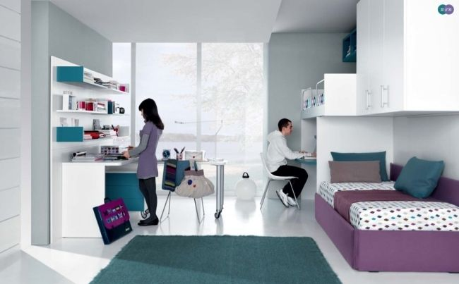 Jugendzimmer mädchen modern blau  ideen fürs jugendzimmer geschwister unisex weiß lila blau ...