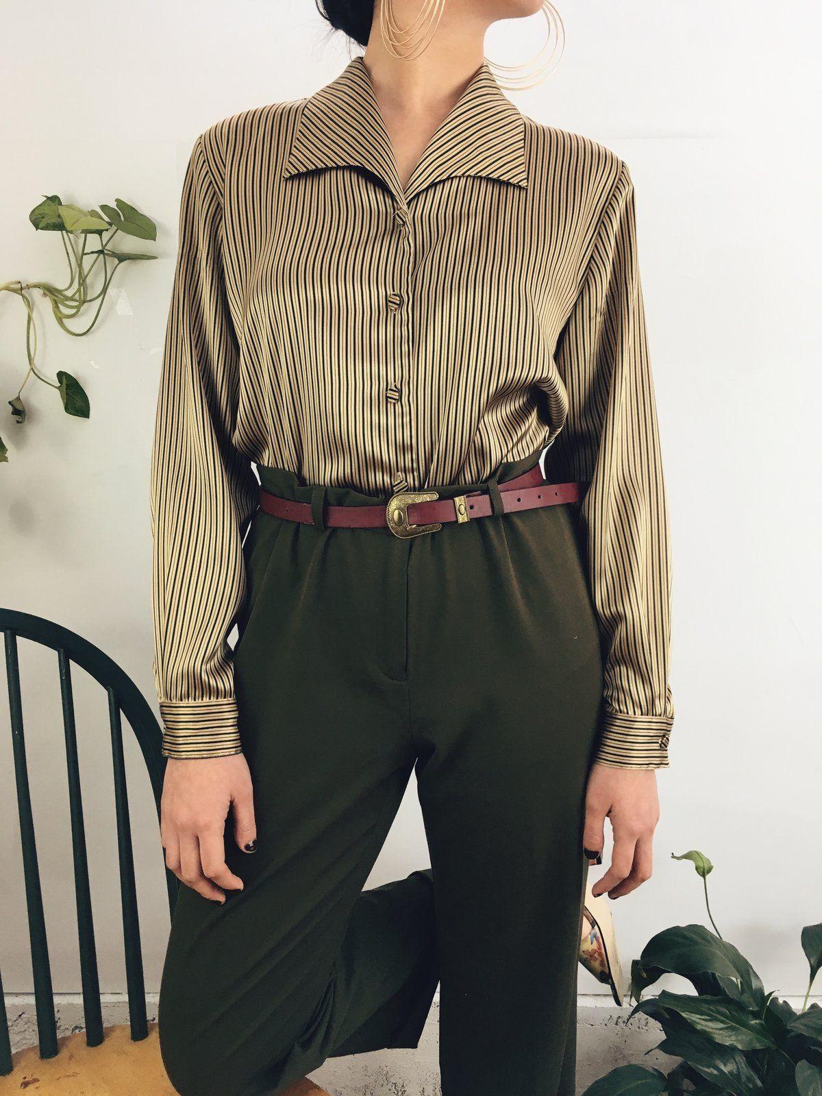 The Striped Golden Blouse Vintage Fashion 90s Vintage Fashion 1950s Vintage Clothes Women Retro F Vintage Fashion 90s Blouse Vintage Vintage Clothes Women