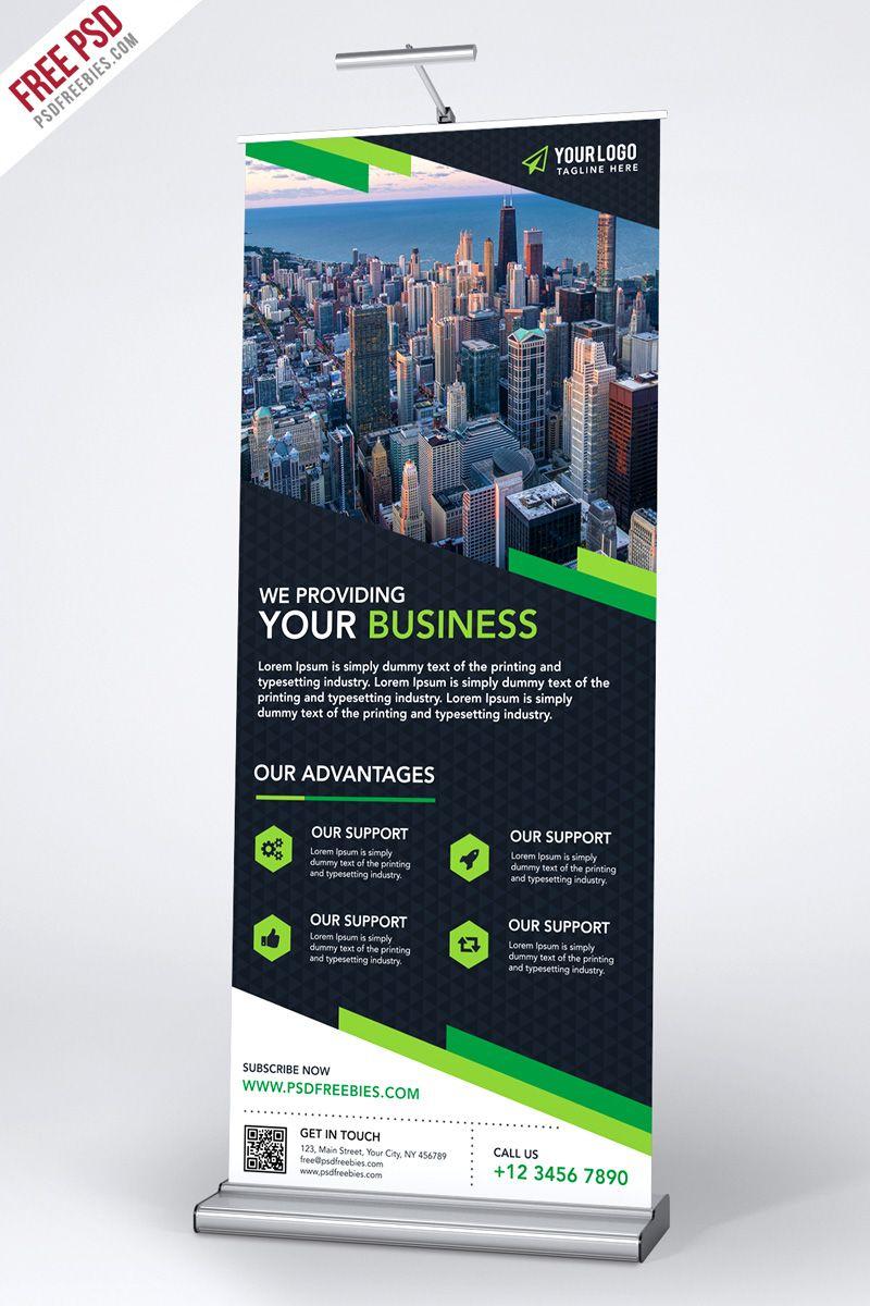 Multipurpose Creative Roll Up Banner Template Psd Psdfreebies Com Tradeshow Banner Design Standee Design Banner Ads Design