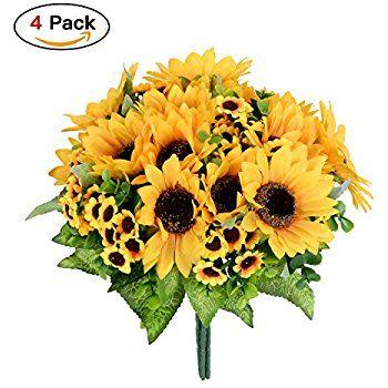 Amazon artificial flowers 4 bouquet silk sunflowers dearhouse amazon artificial flowers 4 bouquet silk sunflowers dearhouse artificial sunflower bouquet 7 mightylinksfo
