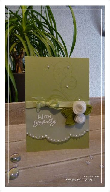handmade card ... luv the vellum panel with pearls ... sweet little felt rolled roses ... like this card!!