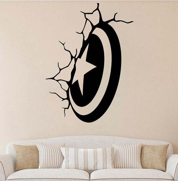 Captain America Shield Wall Decal Avenger Vinyl Sticker Superhero Decals Decor 1fxs