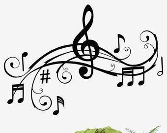 Music Note Keyboard Wall Decal Music Wall Decor Music Instrument Wall Decal 366t