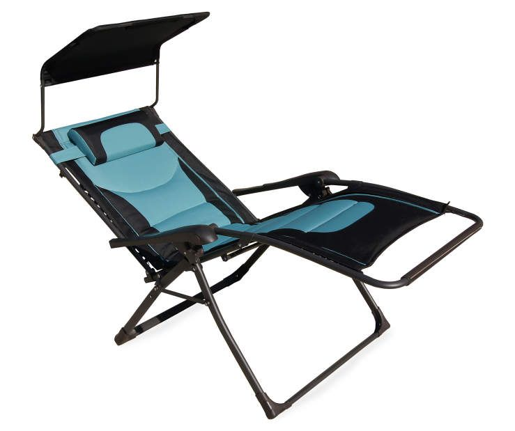 Wilson Fisher Black Teal Oversized Padded Zero Gravity Chair With Canopy Big Lots Zero Gravity Chair Zero Gravity Affordable Outdoor Furniture