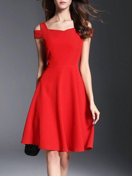 a8a3fcafcb Shop Midi Dresses - Red Cold Shoulder A-line Short Sleeve Party Dress  online. Discover unique designers fashion at StyleWe.com.