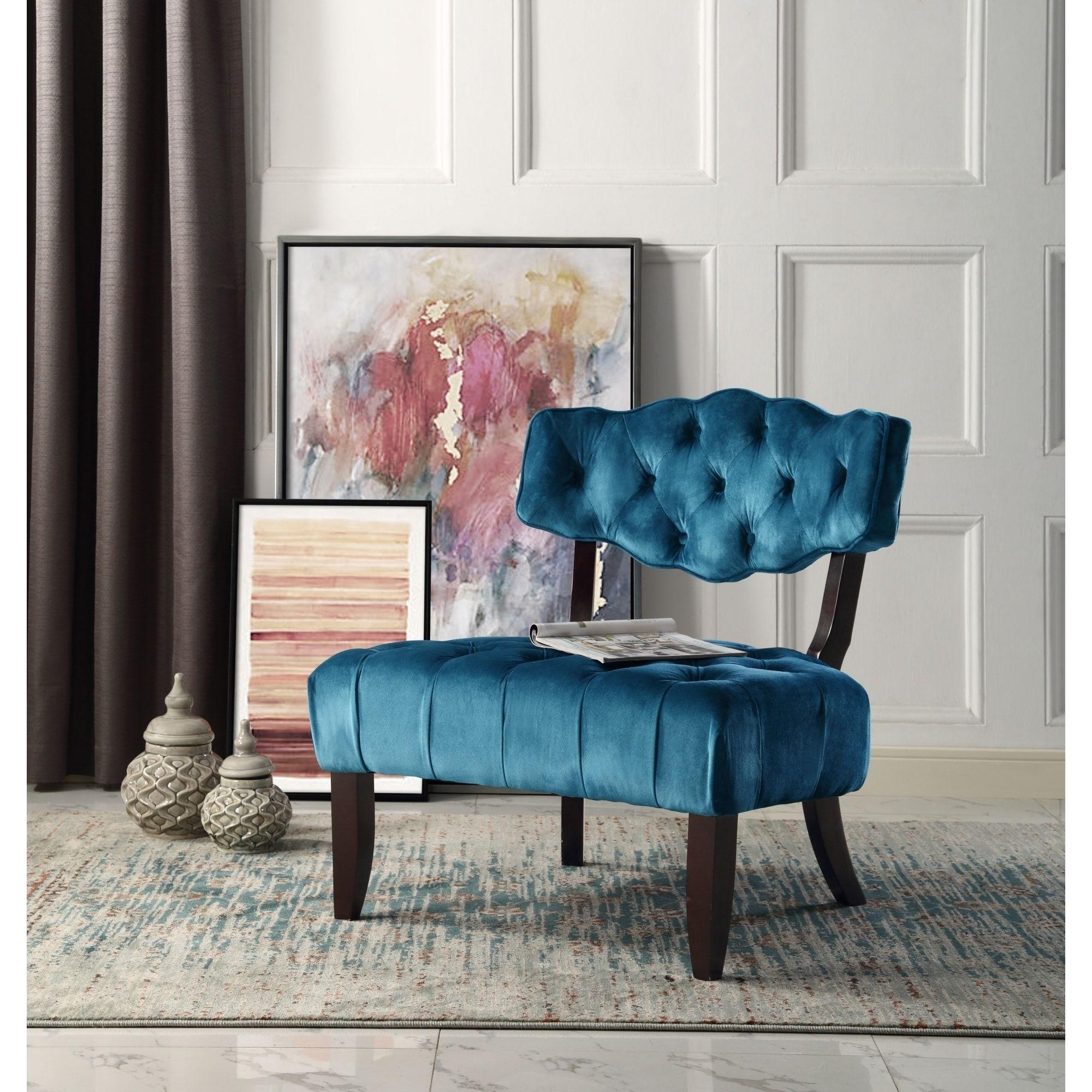 Inspire Q Home Courtney Velvet Accent Tufted Armless Slipper Chair