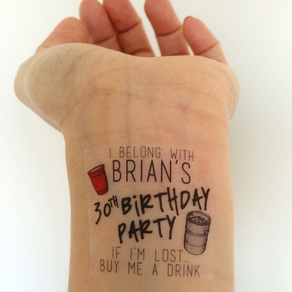Custom Red Solo Cup / Keg Birthday Party Temporary Tattoos