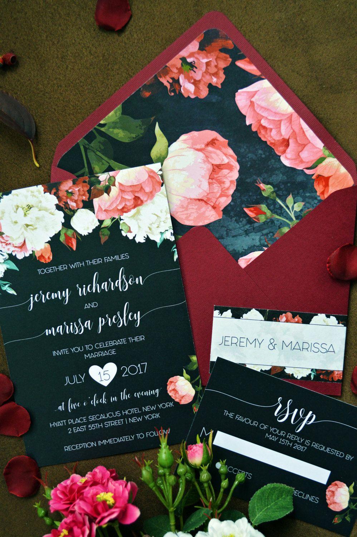 10OFF Printable Wedding Invitation, Marsala Wedding Invitations ...