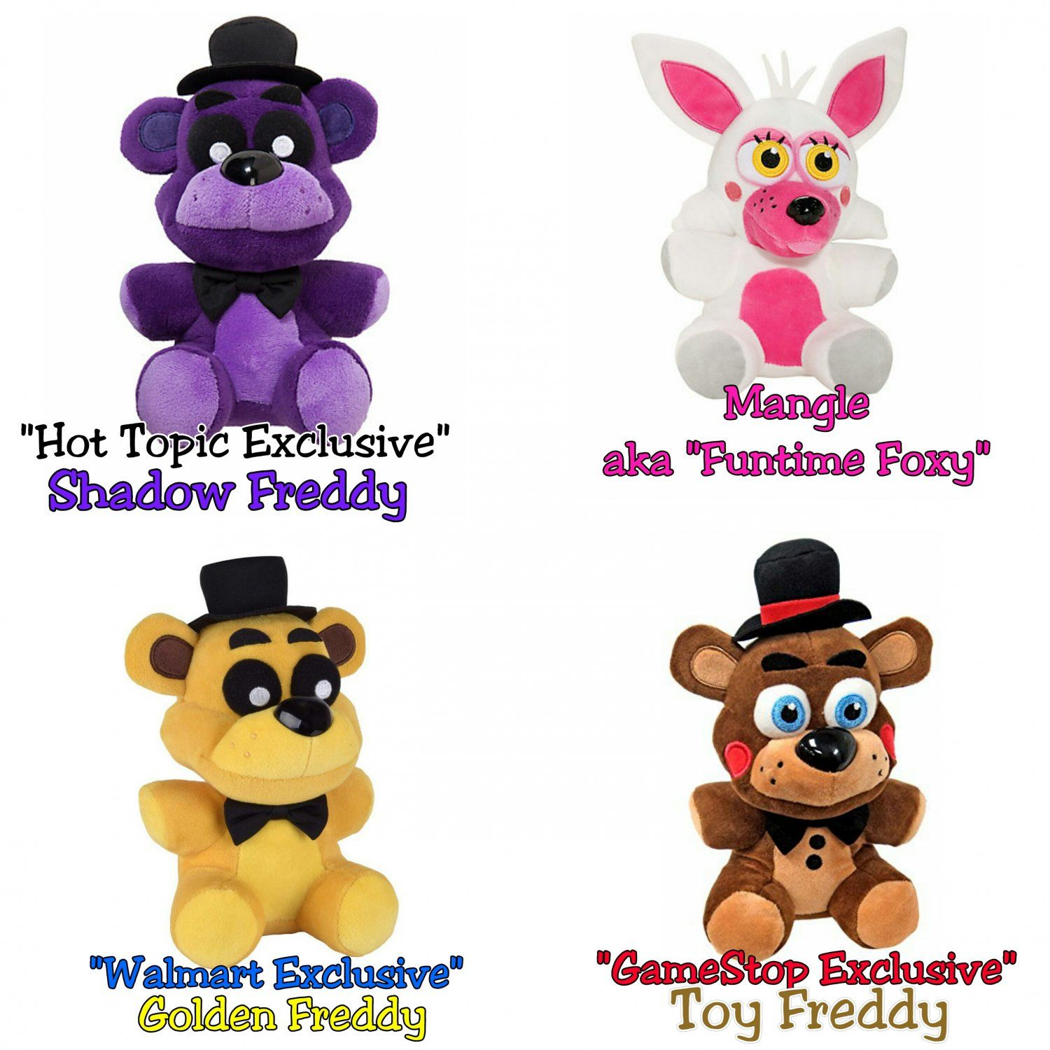 How to make your own five nights at freddys foxy plush - Funko Five Nights At Freddy S Set Of 4 Shadow Freddy Hot Topic Exclusive Mangle Aka Funtime Foxy Golden Freddy Walmart Exclusive