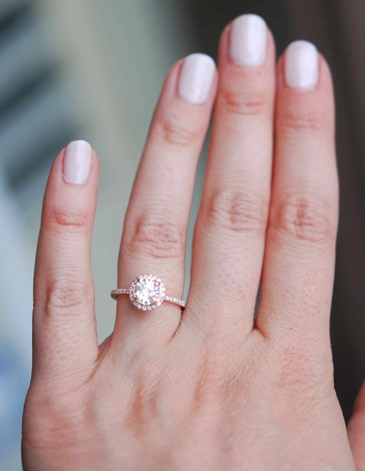 Rose gold diamond ring engagement ring with 1ct round white sapphire ...
