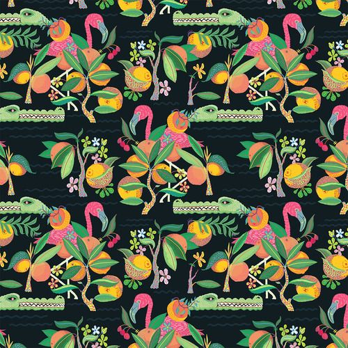 llewmejia:  A Floridian pattern complete with Flamingos and...