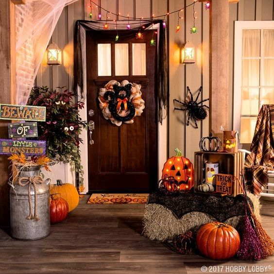 Halloween decor, bench, mums, flowers, hay, Outdoor living, pillows - hobby lobby halloween decorations