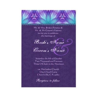 Aqua Blue And Royal Purple Fl Wedding Invitation