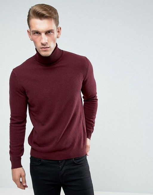caf86d1341ed85 United Colors of Benetton | United Colors of Benetton 100% Merino Roll Neck  Jumper In Burgundy