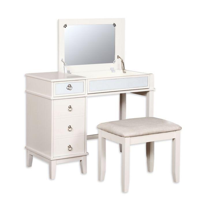 Linon Home Eva 2 Piece Vanity Set In White With Images Bedroom Vanity Set Vanity Set Linon Home Decor