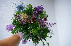 purple bouquet used as table flowers #britishflowers - owl house flowers