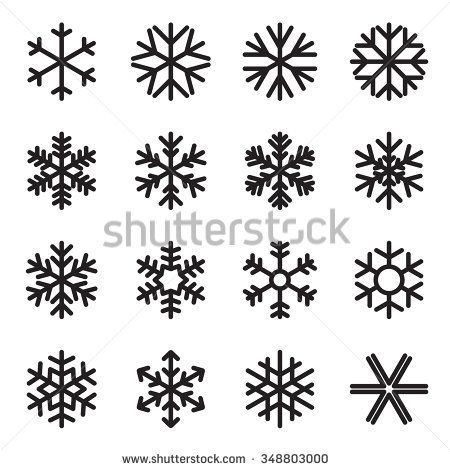 Simple Snowflake Icons Symbols Of Winter Frost Snow Freezer