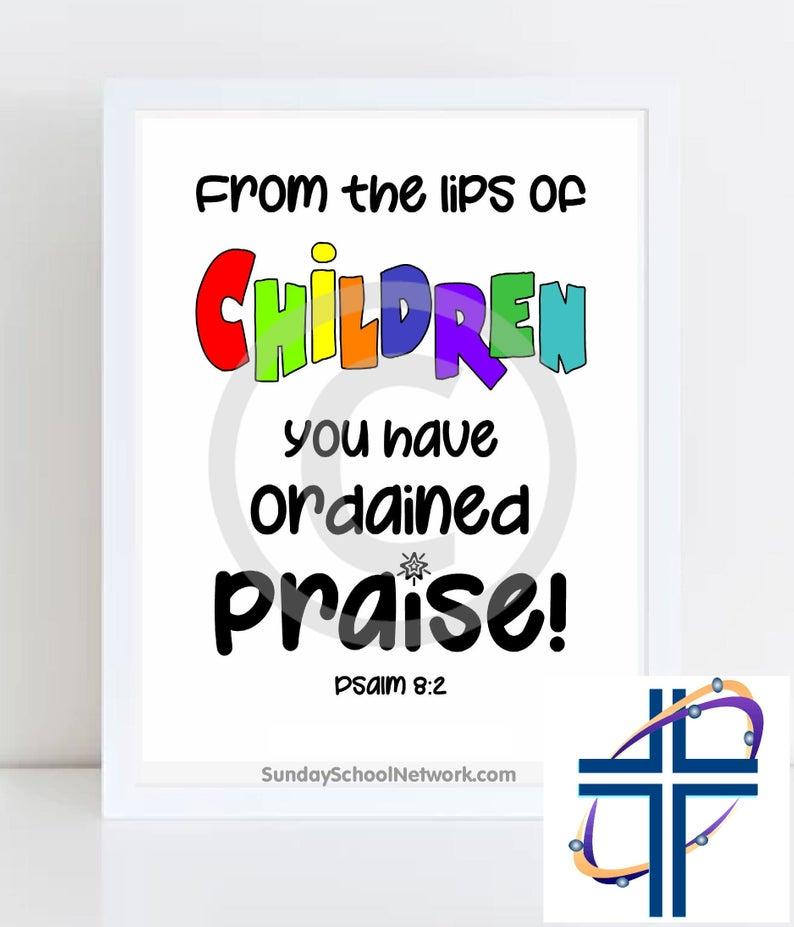 Children's Praise, Choir Room Printable Poster, WALL ART