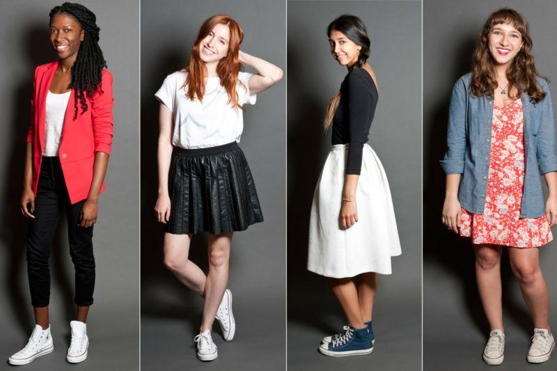 Chaussures tennis femme converse jeans jupes et robe en blanc et rouge baskets pinterest - Sportlich elegante kleidung ...