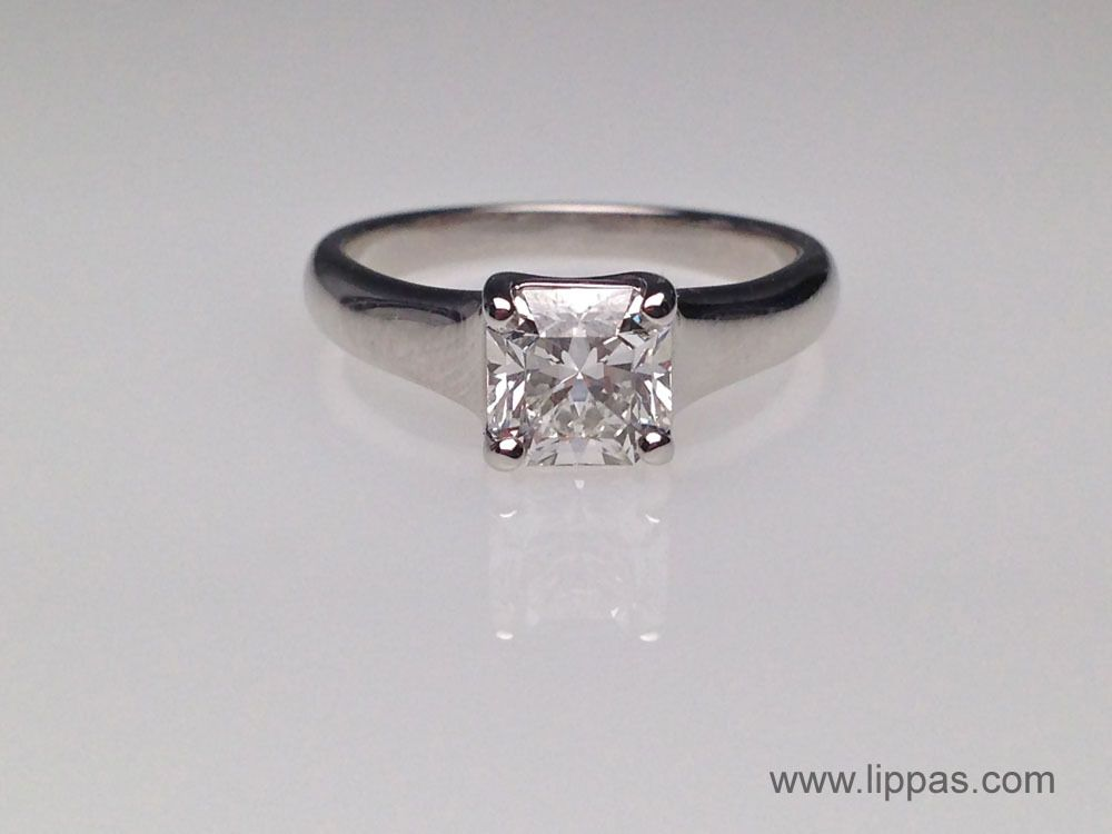 Tiffany and Co. Platinum Lucida Cut Diamond Solitare Ring. $11,500.00 Lippa's Estate and Fine Jewelry