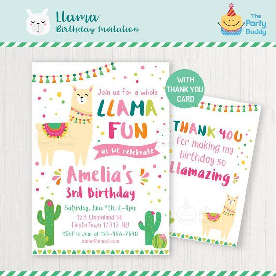 llama birthday party invitation