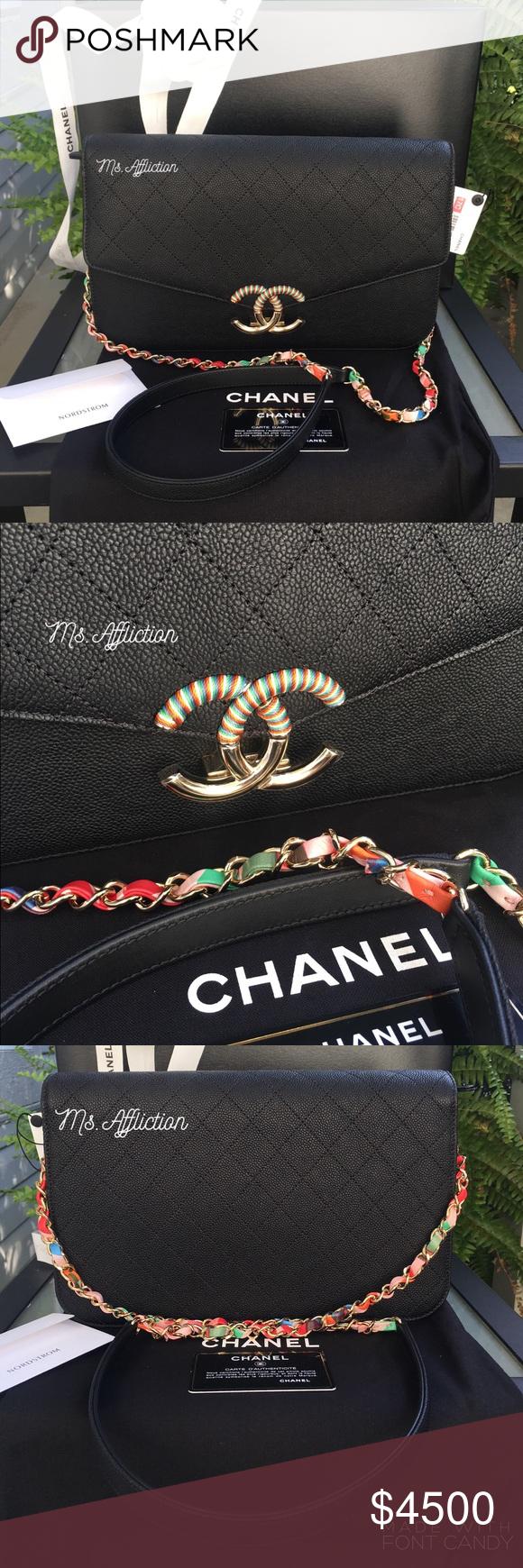 eee9743e38a6df CHANEL Pt I Authentic Caviar Flap Jumbo Cuba Bag Beautiful rigid black  caviar, multi-