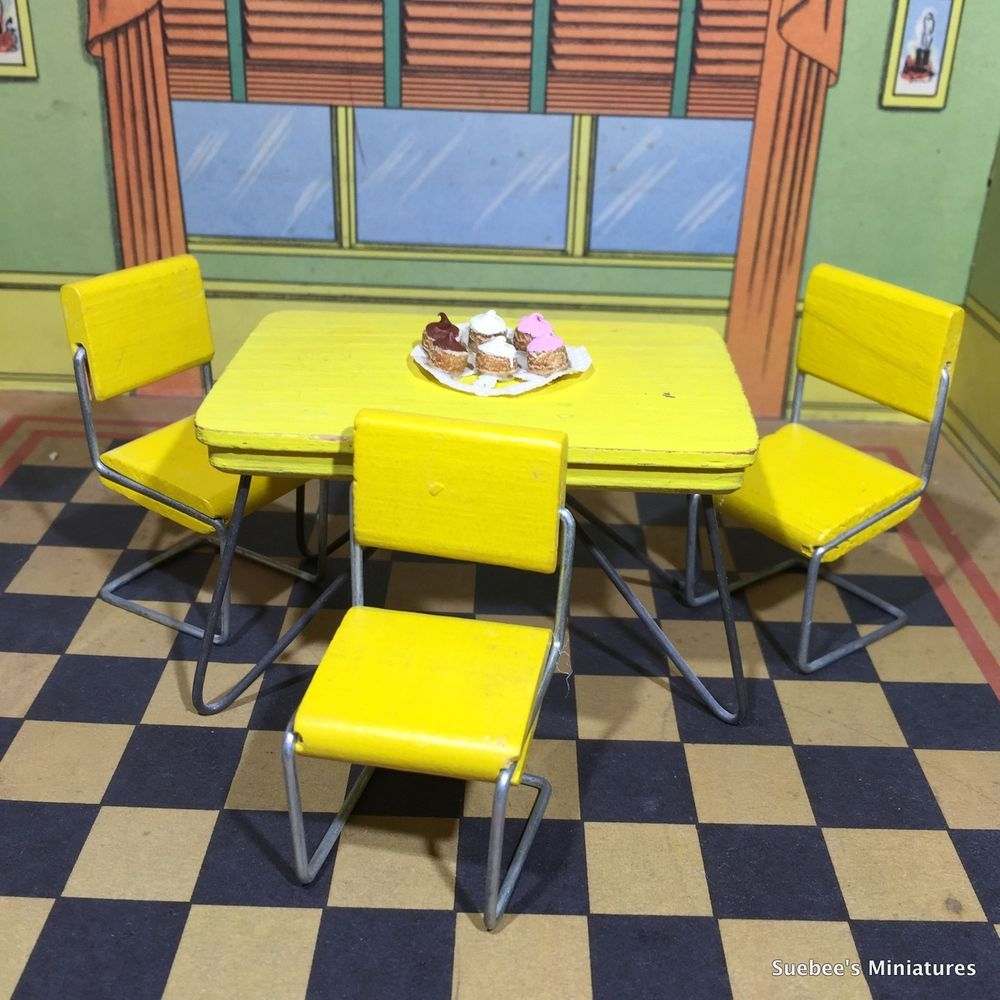 1:12 Mini Dollhouse Miniature Furniture Wooden Kitchen Cabinet Table Set Vintage