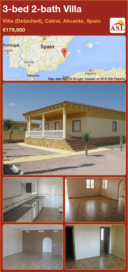 3-bed 2-bath Villa in Villa (Detached), Catral, Alicante, Spain ►€179,950 #PropertyForSaleInSpain