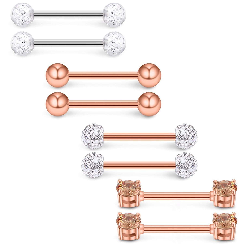 Body piercing retainer  Ruifan PRSPCS G Inch Straight Nipple Tongue Shield Ring